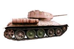 Serbatoio di battaglia sovietico rosso T-34 isolato su bianco Fotografia Stock Libera da Diritti