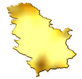 Serbia 3d Golden Map Stock Images