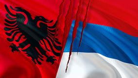 Serbia and Albania flags with scar concept. Waving flag design,3D rendering. Serbia Albania flag pictures, wallpaper image. royalty free illustration