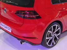 Serbia; Belgrade; April 2, 2017; Back side of New red Volkswagen. Golf GTI; the 53rd International Motor Show in Belgrade from March 24th to April 2nd, 2017 Royalty Free Stock Image