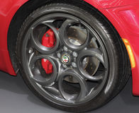 Serbia; Belgrade; April 2, 2017; Close up of Alfa Romeo wheel; t stock image