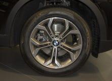 Serbia; Belgrade; April 2, 2017; The close up of BMW wheel; The royalty free stock photos