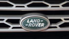 Serbia; Belgrade; April 2, 2017; Close up of Land Rover logo; th stock image