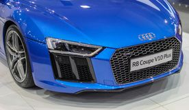 Serbia; Belgrade; April 2, 2017; Front of azure blue Audi R8 Coupe V10 Plus; the 53rd International Motor Show in Belgrade from Ma. Rch 24th to April 2nd, 2017 Royalty Free Stock Photo
