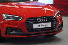 Serbia; Belgrade; April 2, 2017; Front of red Audi A5 Coupe; the. 53rd International Motor Show in Belgrade from March 24th to April 2nd, 2017 Stock Images