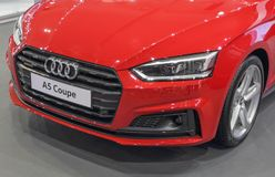 Serbia; Belgrade; April 2, 2017; Front side of red Audi A5 Coupe. The 53rd International Motor Show in Belgrade from March 24th to April 2nd, 2017 Royalty Free Stock Image