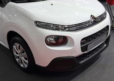 Serbia; Belgrade; April 2, 2017; front side of white Citroen C3; The 53rd International Motor Show in Belgrade from March 24th to stock images