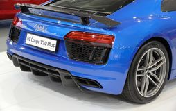 Serbia; Belgrade; April 2, 2017; side back of azure blue Audi R8. Coupe V10 Plus; the 53rd International Motor Show in Belgrade from March 24th to April 2nd Royalty Free Stock Image