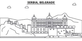 Serbia, Belgrade architecture line skyline illustration. Linear vector cityscape with famous landmarks, city sights Vector Illustration