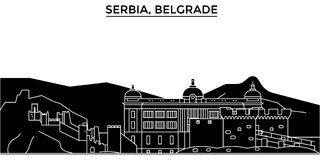 Serbia, Belgrade architecture vector city skyline, travel cityscape with landmarks, buildings, isolated sights on Royalty Free Illustration