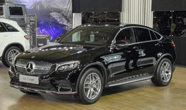 Serbia; Belgrade; March 29, 2017; Black Mercedes-Benz GLC Coupe;. The 53rd International Motor Show in Belgrade from March 24th to April 2nd, 2017 Royalty Free Stock Images