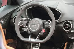 Serbia; Belgrade; March 29, 2017; The close up of Audi R8 Coupe. V10 Plus steering wheel;  The 53rd International Motor Show in Belgrade from March 24th to Stock Images