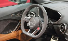 Serbia; Belgrade; March 29, 2017; The close up of Audi R8 Coupe. V10 Plus steering wheel;  The 53rd International Motor Show in Belgrade from March 24th to Royalty Free Stock Image