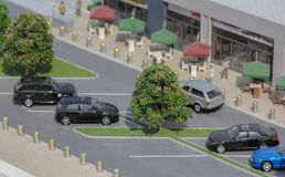 Serbia; Belgrade; March 24, 2018; Miniature model of cars on the. Parking lot; Belgrade Waterfront stock photo