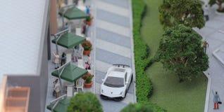 Serbia; Belgrade; March 24, 2018; Miniature model of Lamborgini. Parked in front of the restaurant; Belgrade Waterfront Stock Photos