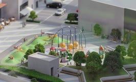 Serbia; Belgrade; March 24, 2018; Miniature model of playground. In the city; Belgrade Waterfront stock photo