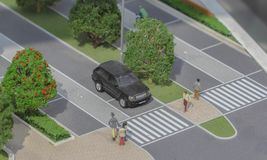 Serbia; Belgrade; March 24, 2018; Miniature model stopped Range. Rover in front of crosswalk with pedestrians; Belgrade Waterfront royalty free stock photos