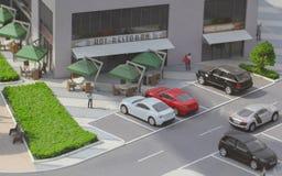 Serbia; Belgrade; Marzec 24, 2018; Miniaturowy model parkujący samochody obrazy stock