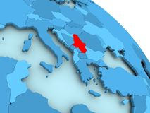 Serbia on blue globe. Serbia highlighted on blue 3D model of political globe. 3D illustration Stock Image