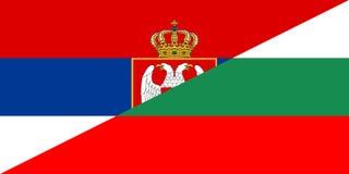 Serbia bulgaria flag. Serbia bulgaria neighbour countries half flag symbol Stock Photos