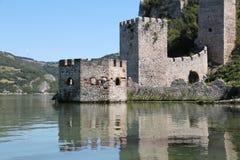 Serbia castle. Serbia landmark. Golubac Fortress on Danube River in region of Branicevo royalty free stock photos