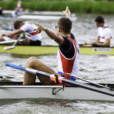 Serbia celebrates gold medal. Bosbaan, Amsterdam, Netherlands - 23 July 2011:  Serbia's Men's Coxed four wins gold at the world championships rowing under 23 in Stock Images