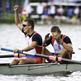 Serbia celebrates gold medal. Bosbaan, Amsterdam, Netherlands - 23 July 2011:  Serbia's Men's Coxed four wins gold at the world championships rowing under 23 in Royalty Free Stock Images