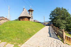 Serbia: Church and bell tower of St. Sava, Drvengrad Kusturica royalty free stock photography