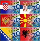 Serbia croatia macedonia montenegro albania flag with euro bankn Stock Photos