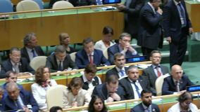 Serbia delegation at the United Nations General Assembly. General view of the conference room of 71st session of the United Nations General Assembly in New York stock footage