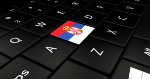 Serbia flag button on laptop keyboard. Stock Photos