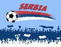 Serbia flag colors with soccer ball and Serbian supporters silho. Uettes. All the objects, brush strokes and silhouettes are in different layers and the text Stock Photos
