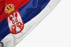Serbia flag of fabric with copyspace for your text on white background royalty free illustration