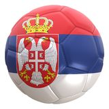 Serbia flag on a football ball Royalty Free Stock Photos