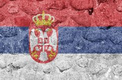 Serbia flaga na kamiennej ścianie ilustracji