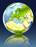 Serbia on globe with reflection. Illustration with detailed planet surface. Elements of this image furnished by NASA Stock Photography