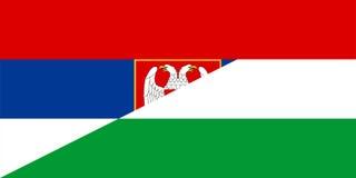 Serbia hungary flag. Serbia hungary neighbour countries half flag symbol Royalty Free Stock Photos