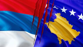 Serbia and Kosovo flags with scar concept. Waving flag design,3D rendering. Serbia Kosovo flag pictures, wallpaper image. Serbian vector illustration