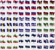 Serbia, Liechtenstein, Malawi, Barbados, Cape Verde, Chechen Republic of Ichkeria, Bulgaria, Estonia, Anguilla. Big set of 81 flag Stock Image