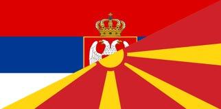 Serbia macedonia flag. Serbia macedonia neighbour countries half flag symbol Royalty Free Stock Photography