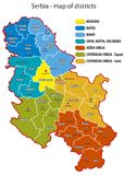 Serbia - map of districts Stock Photography