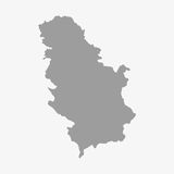 Serbia map in gray on a white background Royalty Free Stock Image