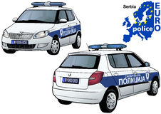 Serbia Police Car. Colored Illustration from Series Euro police, Vector Stock Images