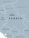 Serbia political map with capital Belgrade Royalty Free Stock Photography