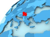 Serbia on blue globe. Serbia in red on blue model of political globe. 3D illustration Royalty Free Stock Photography