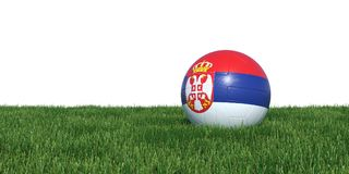 Serbia Serbian flag soccer ball lying in grass world cup 2018. Isolated on white background. 3D Rendering, Illustration Stock Photo