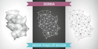 Serbia set of grey and silver mosaic 3d polygonal maps Royalty Free Stock Photo