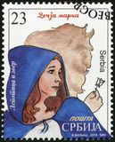 SERBIA - 2015: shows The Beauty and the Beast, series Characters from children`s books. SERBIA - CIRCA 2015: A stamp printed in Republic of Serbia shows The royalty free stock image