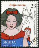 SERBIA - 2015: shows The Snow White and the Seven Dwarfs, series Characters from children`s books. SERBIA - CIRCA 2015: A stamp printed in Republic of Serbia stock images