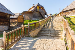 Serbia: stone staircase in a wooden town, Drvengrad Kusturica Royalty Free Stock Photography